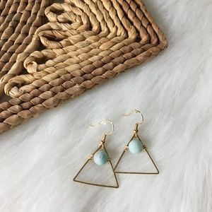 Handmade Golden Triangle & Amazonite Dangles
